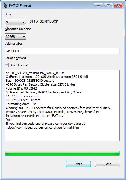 Форматируем в fat32format флешки более 16Гб
