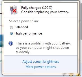 Рекомендуется заменить батарею