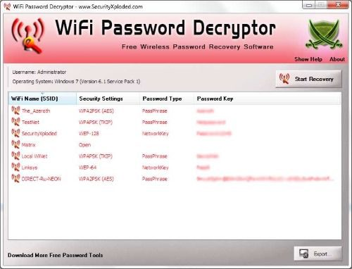 узнаем пароль wi-fi с помощью программы WiFi Password Decryptor