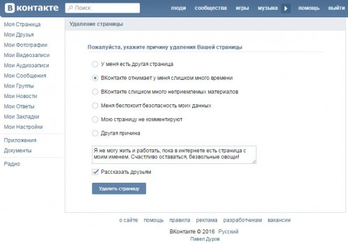 Указываем причину удаления из Вконтакте