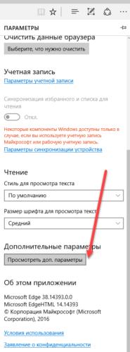 дополнительные параметры браузера edge