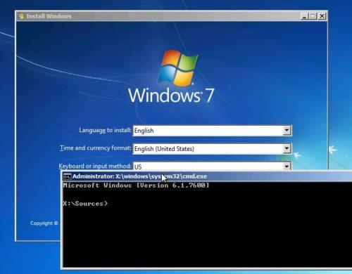 Сброс пароля Windows 7 через установочный диск
